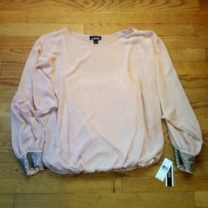 A. Byer Blush Sheer Top Built in Cami Sz M NWT